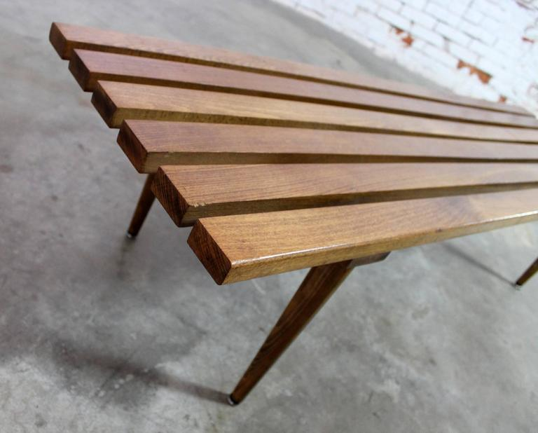Yugoslavian Slatted Bench Coffee Table Vintage Mid-Century Modern In Good Condition For Sale In Topeka, KS