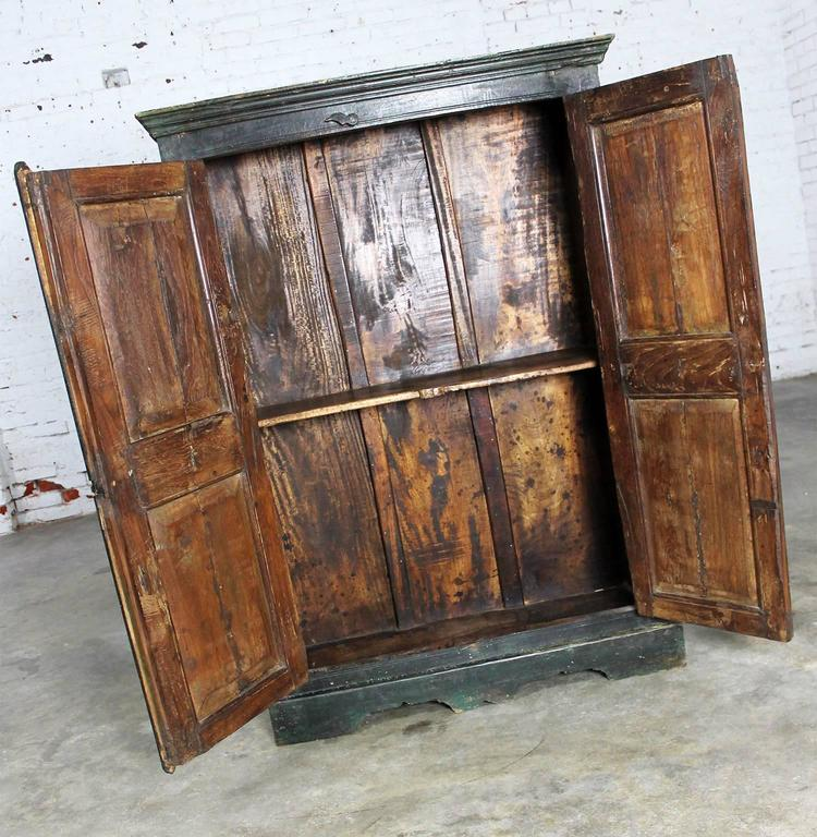Rustic Primitive Cupboard Storage Cabinet With Distressed Paint For Sale At 1stdibs