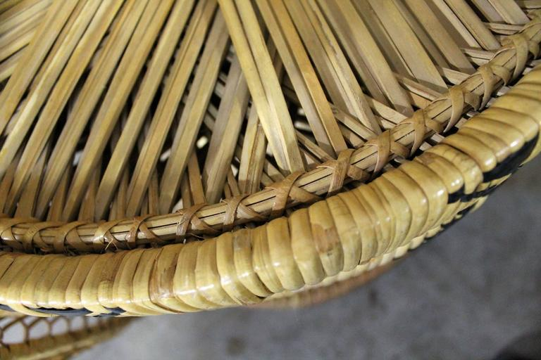 Pair Of Wicker Rattan Peacock Fan Back Chairs And Side