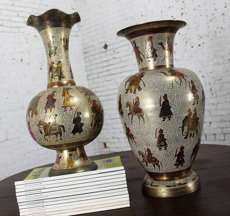 Pair Of Etched And Enameled Cast Brass Vases Kashmiri Indo Persian