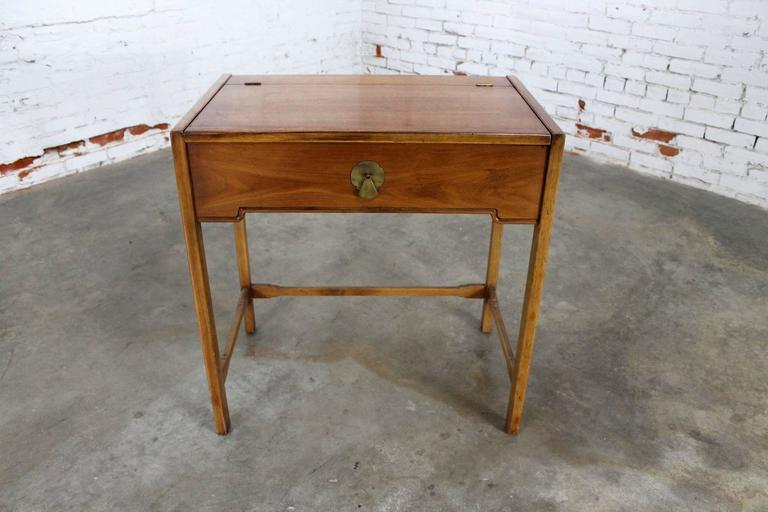 Interesting And Wonderful Vintage Mid Century Campaign Style Lift Top Make Up Vanity With