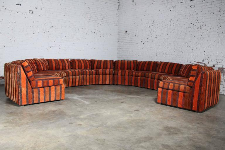 Curved Six Piece Milo Baughman Style Sectional Sofa By