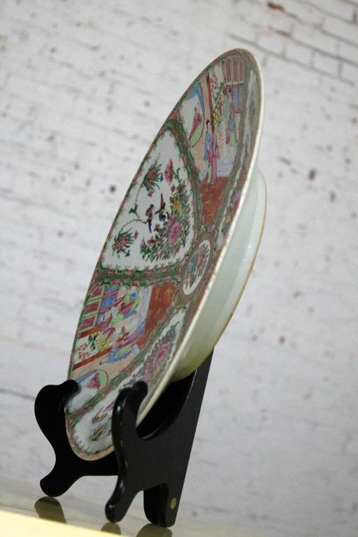 Hand-Painted Large Antique Chinese Qing Rose Medallion Porcelain Charger Platter Traditional For Sale