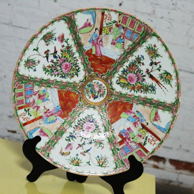 Large Antique Chinese Qing Rose Medallion Porcelain Charger Platter Traditional For Sale 3