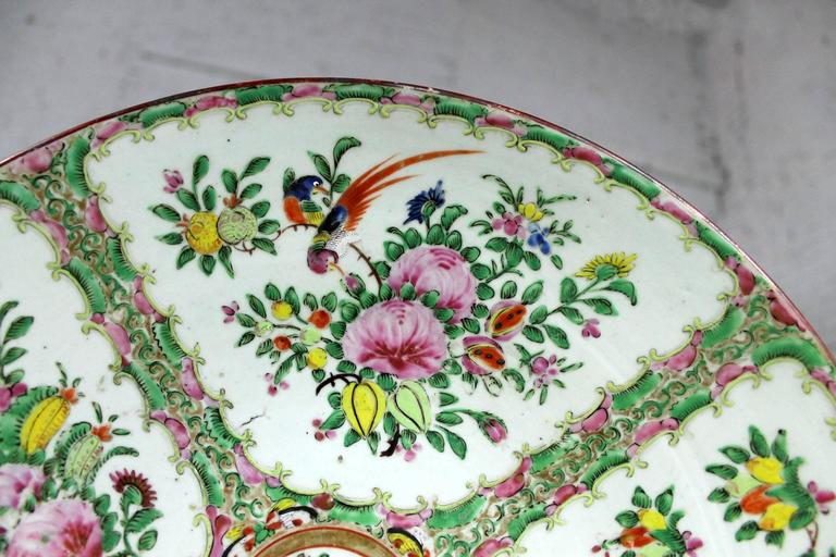19th Century Large Antique Chinese Qing Rose Medallion Porcelain Charger Platter Birds Floral For Sale