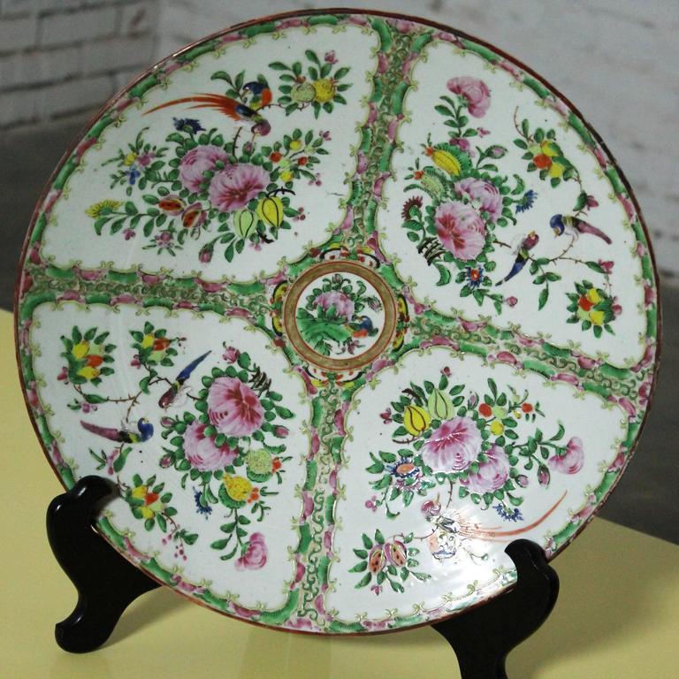 Large Antique Chinese Qing Rose Medallion Porcelain Charger Platter Birds Floral For Sale 5