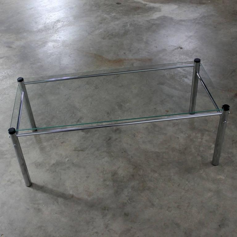 Chrome And Glass Coffee Table Mid-Century Modern