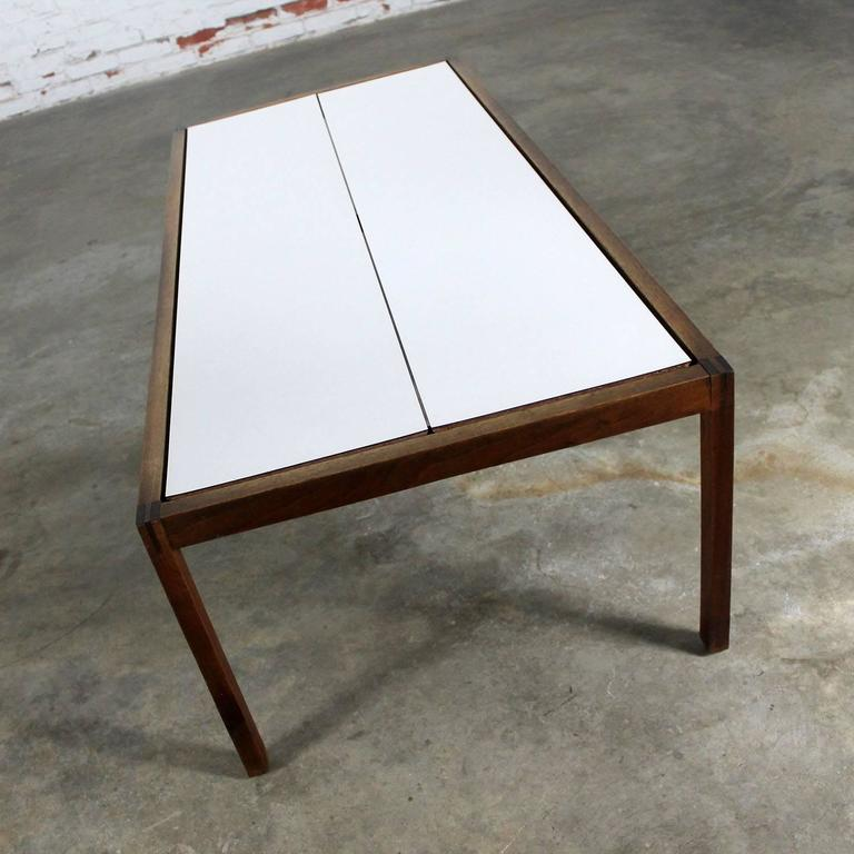 Knoll Walnut and White Laminate Lewis Butler Coffee Table Mid