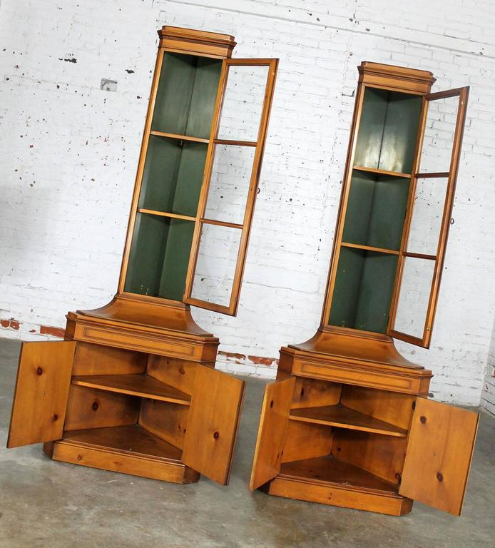 Knotty Pine Cupboards: Knotty Pine Distressed Corner Cabinets Pair By Weiman