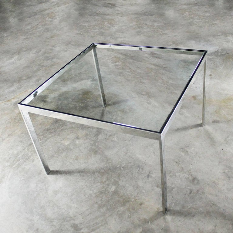 American Chrome and Glass Milo Baughman Attributed Parsons Style End Table Vintage Modern For Sale