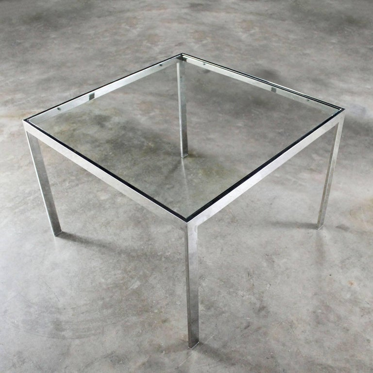 Chrome and Glass Milo Baughman Attributed Parsons Style End Table Vintage Modern In Good Condition For Sale In Topeka, KS