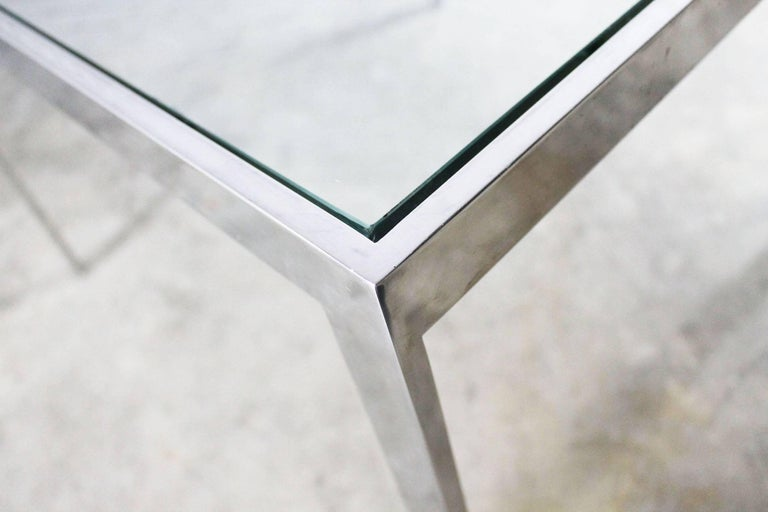 20th Century Chrome and Glass Milo Baughman Attributed Parsons Style End Table Vintage Modern For Sale