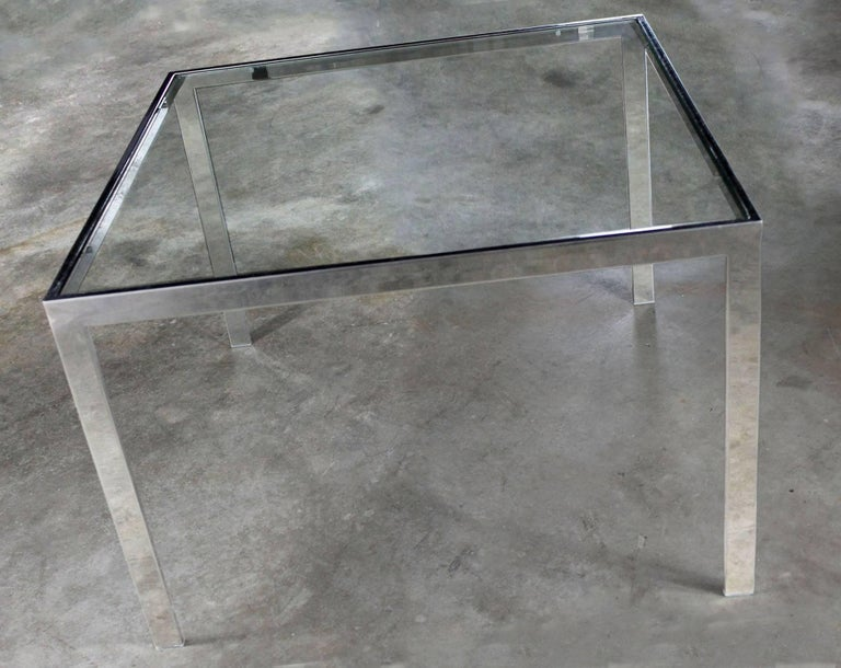 Chrome and Glass Milo Baughman Attributed Parsons Style End Table Vintage Modern For Sale 2