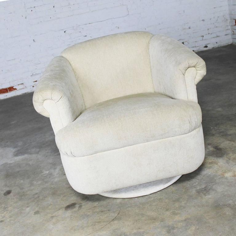 Barrel Shaped off White Vintage Swivel Club Chair with Rolled Arms 2