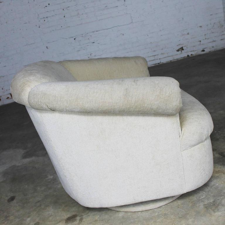 Barrel Shaped off White Vintage Swivel Club Chair with Rolled Arms 3
