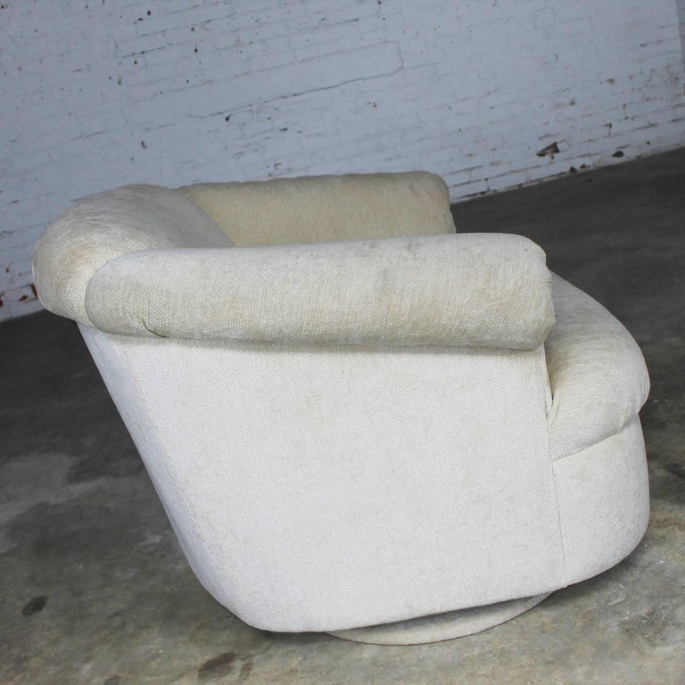 Modern Barrel Shaped off White Vintage Swivel Club Chair with Rolled Arms For Sale