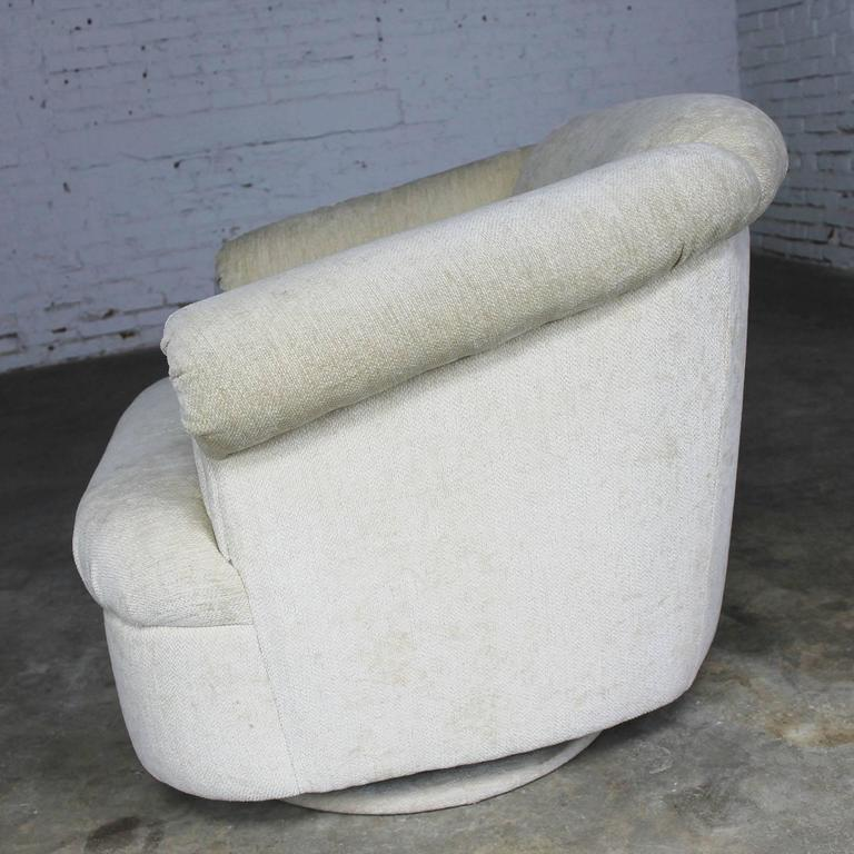 Barrel Shaped off White Vintage Swivel Club Chair with Rolled Arms 4
