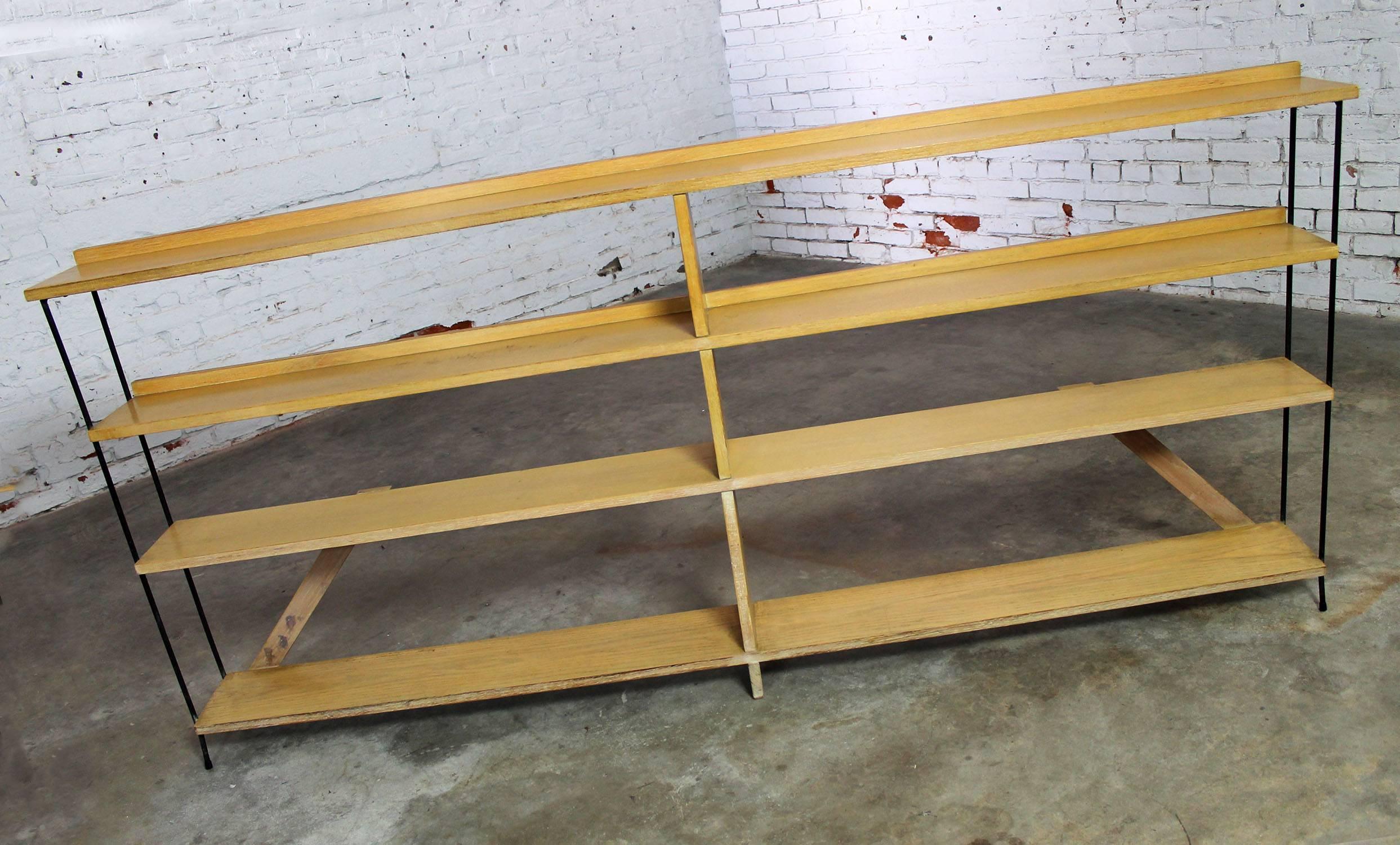 midcentury modern minimalist iron and blonde oak bookcase shelf room divider 2