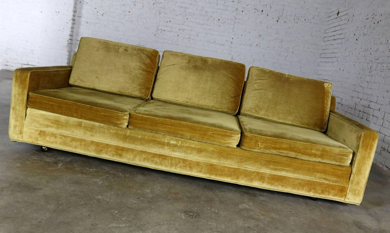 Slender And Simple Lawson Style Three Cushion Sofa In Gold Velvet Upholstery This Vintage