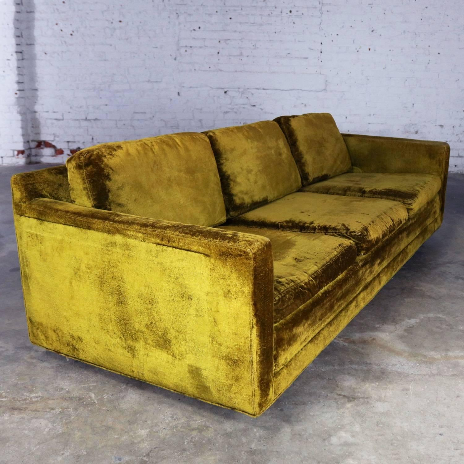 Slender And Simple Lawson Style Three Cushion Sofa In Green Velvet  Upholstery. This Vintage