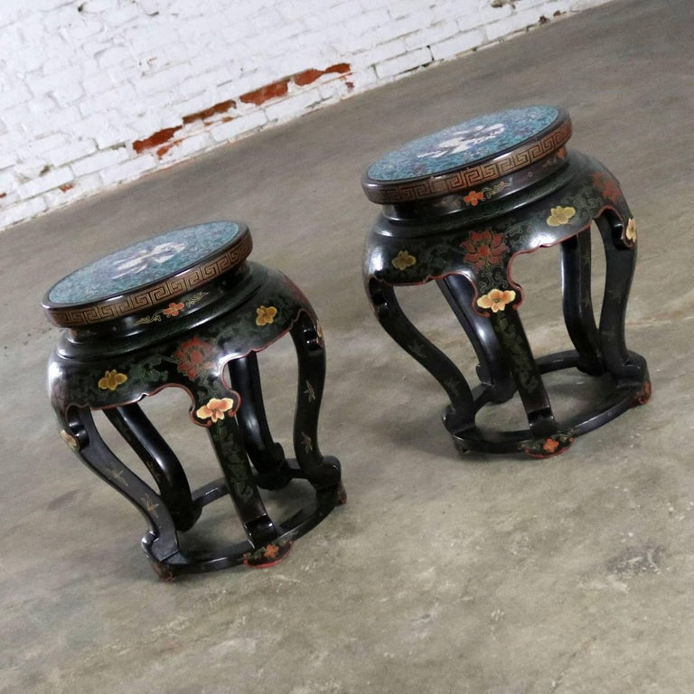 Chinoiserie Chinese Cloisonné and Black Lacquered Round Stools or Side Tables For Sale