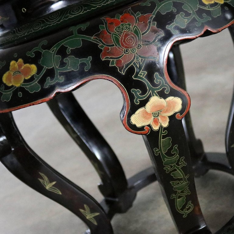 20th Century Chinese Cloisonné and Black Lacquered Round Stools or Side Tables For Sale