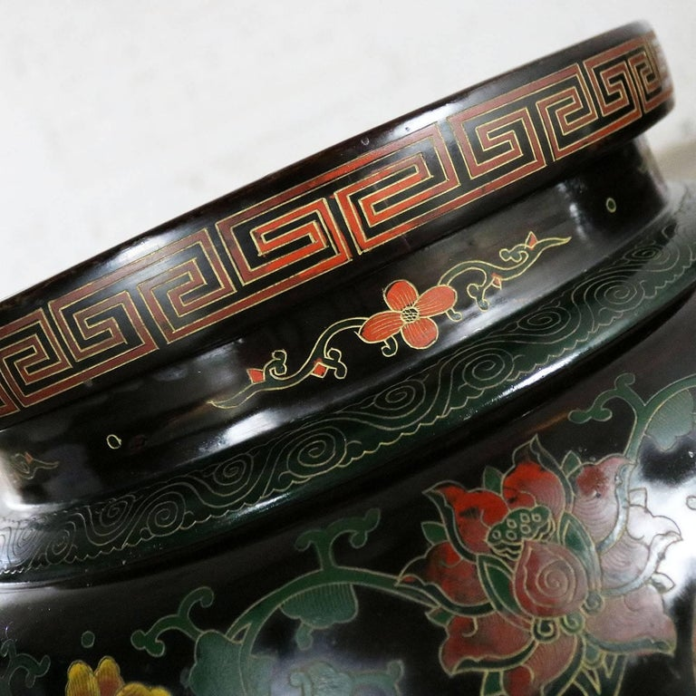 Metal Chinese Cloisonné and Black Lacquered Round Stools or Side Tables For Sale