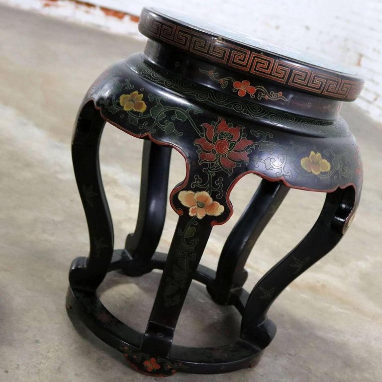 Chinese Cloisonné and Black Lacquered Round Stools or Side Tables For Sale 2