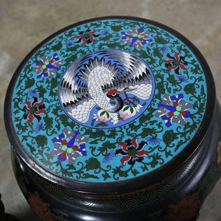 Chinese Cloisonné and Black Lacquered Round Stools or Side Tables For Sale 3