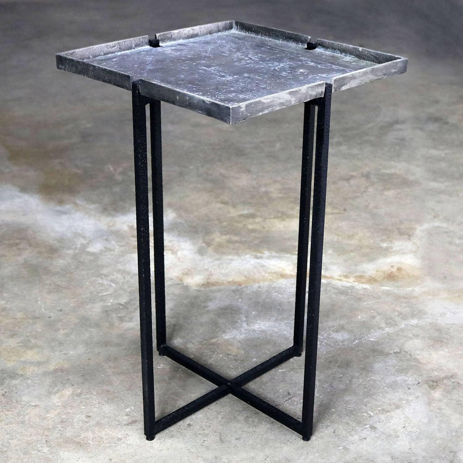 Michael Aram Square Side Table Black Iron and Silvered Bronze with ...