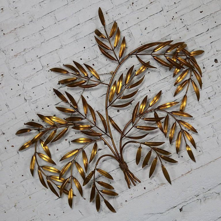 Italian Gilt Metal Wall Sculpture of Branches with Leaves Midcentury Hollywood 2