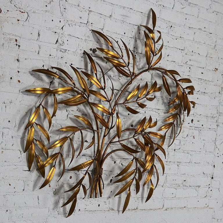 Italian Gilt Metal Wall Sculpture of Branches with Leaves Midcentury Hollywood 3