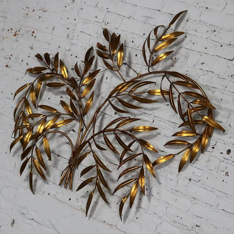 Italian Gilt Metal Wall Sculpture of Branches with Leaves Midcentury Hollywood 4