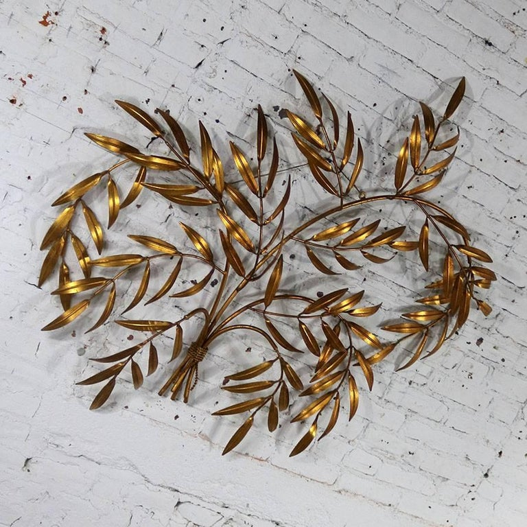 Italian Gilt Metal Wall Sculpture of Branches with Leaves Midcentury Hollywood 8