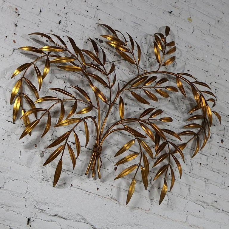 Italian Gilt Metal Wall Sculpture of Branches with Leaves Midcentury Hollywood 9