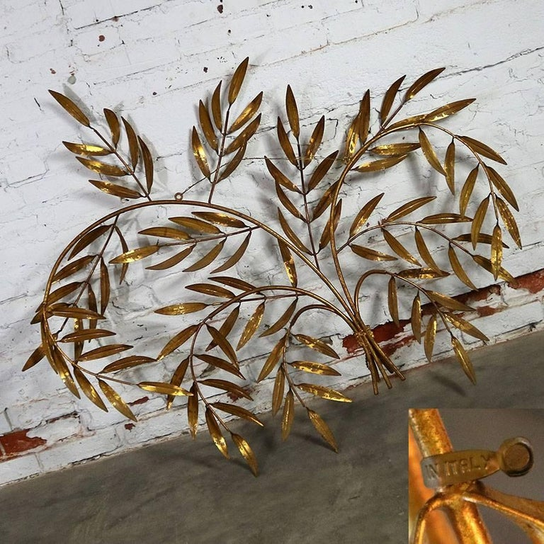 Italian Gilt Metal Wall Sculpture of Branches with Leaves Midcentury Hollywood 10