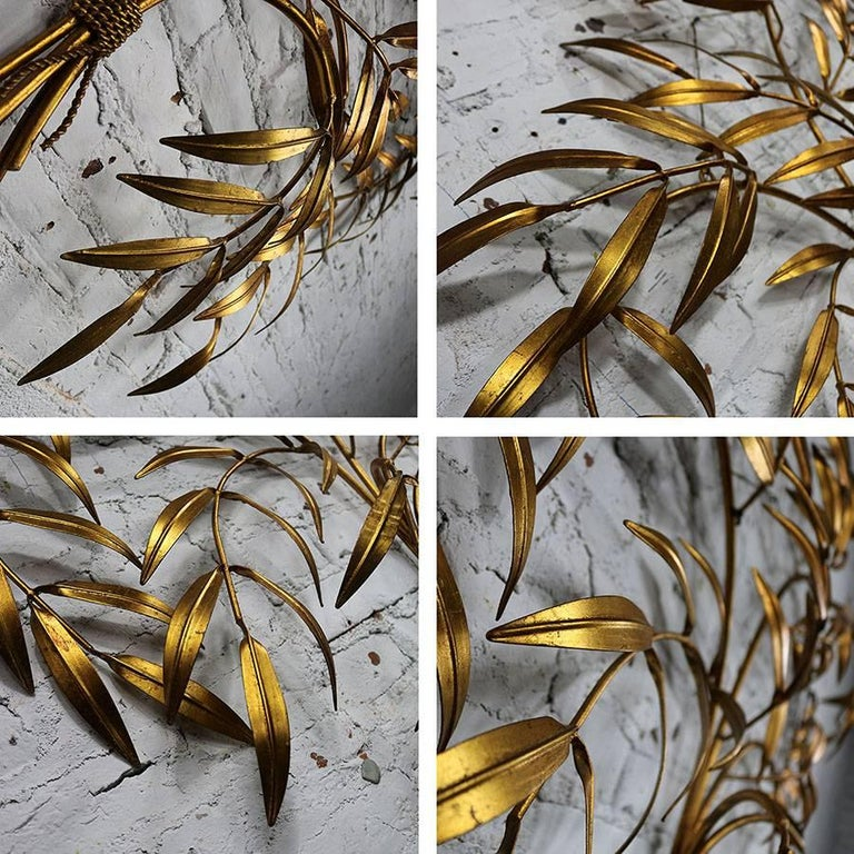Italian Gilt Metal Wall Sculpture of Branches with Leaves Midcentury Hollywood 5