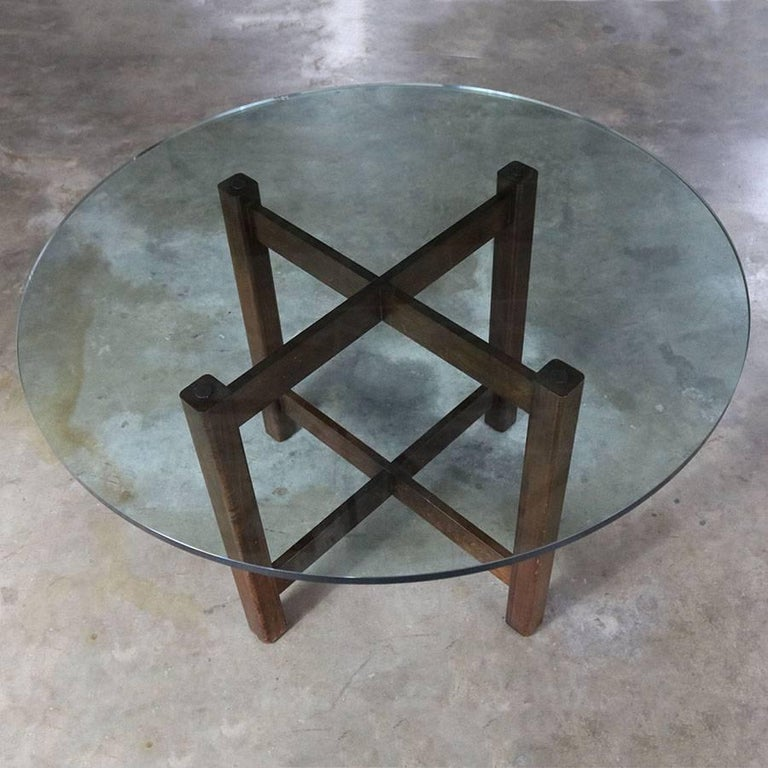 glass dining room tables for sale | Modernist X-Base Dining Room Table with Round Glass Top ...