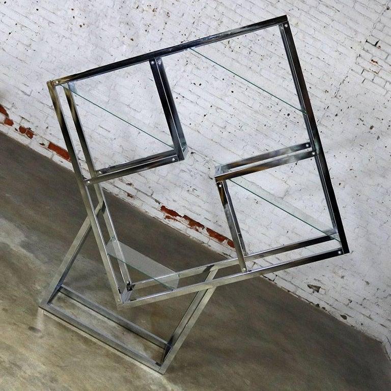 Glass Modernist Geometric Diamond Shaped Chrome Étagère Attributed to Milo Baughman For Sale