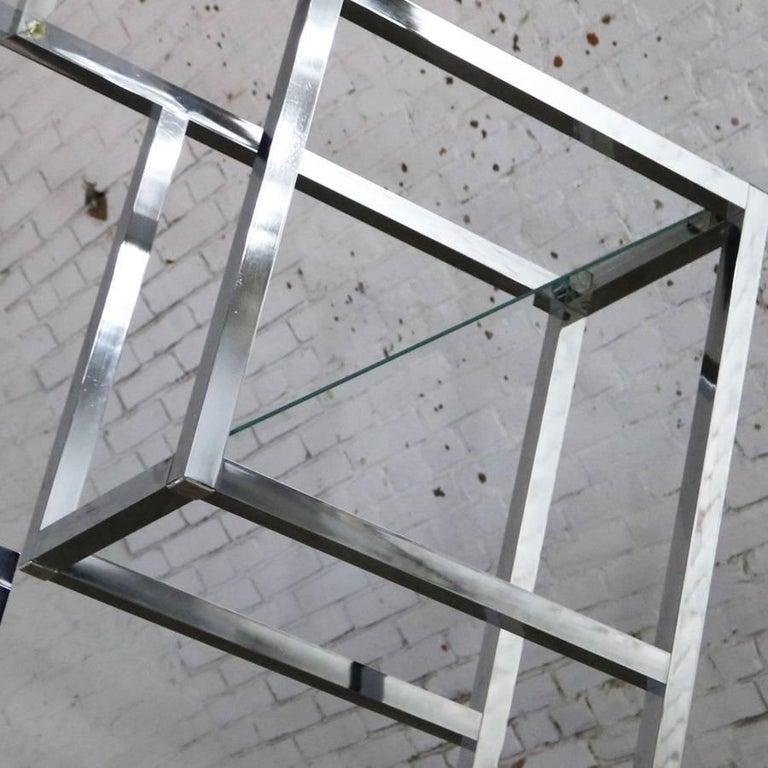 Modernist Geometric Diamond Shaped Chrome Étagère Attributed to Milo Baughman For Sale 4