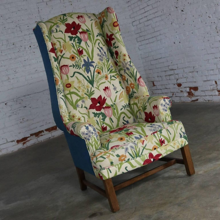 Tall Wingback Chair Upholstered In Bold And Bright Crewel