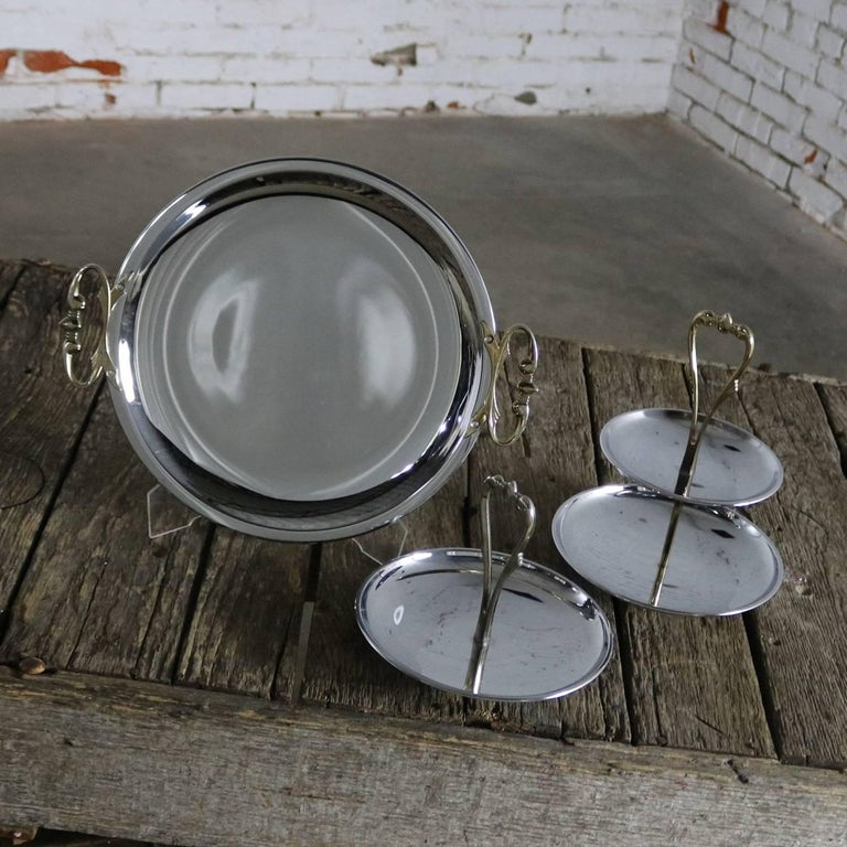 Mid-Century Modern Kromex Trio of Chrome and Gold Tone Serving and Tidbit Trays For Sale