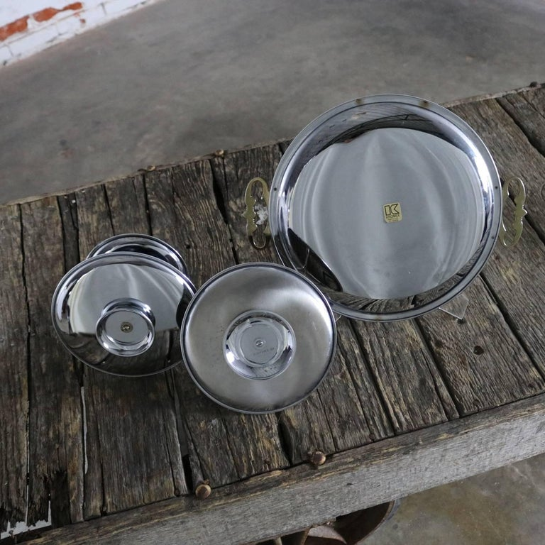 Kromex Trio of Chrome and Gold Tone Serving and Tidbit Trays For Sale 2