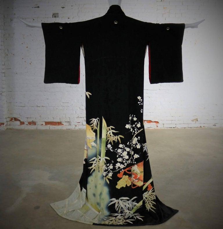 Japanese Black Silk Hand Dyed Kurotomesode Kimono Kabuki ...