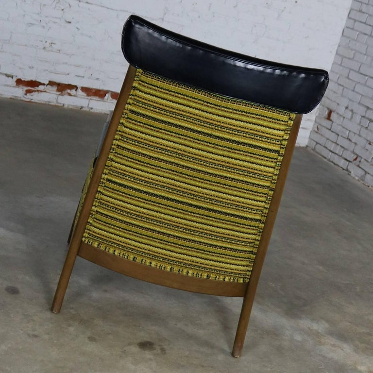 Mid-Century Modern Armchair Green Gold and Black ...