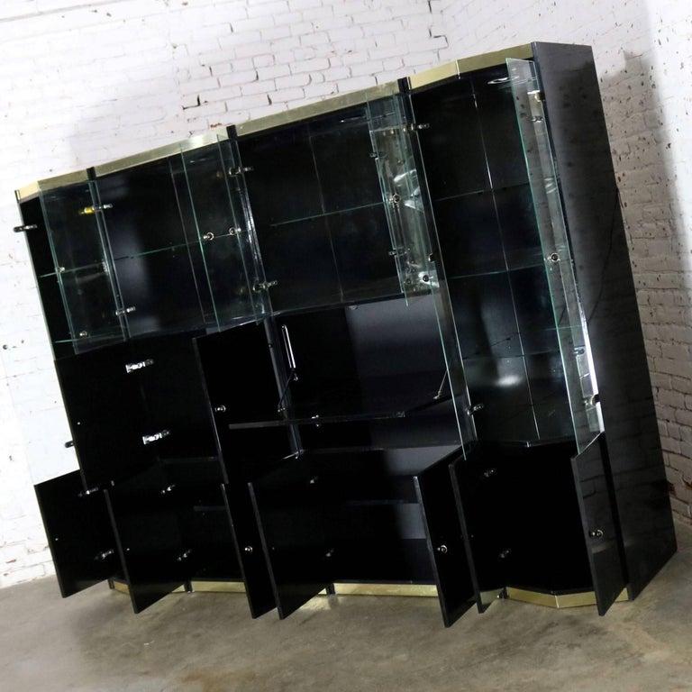 Black Laminate Glass Brass Modular Freestanding Wall Unit