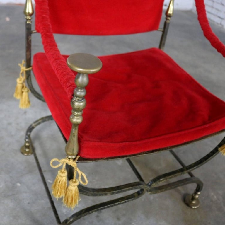 Wrought Iron and Brass Curule Savonarola Chair, Mid-20th Century For Sale 2