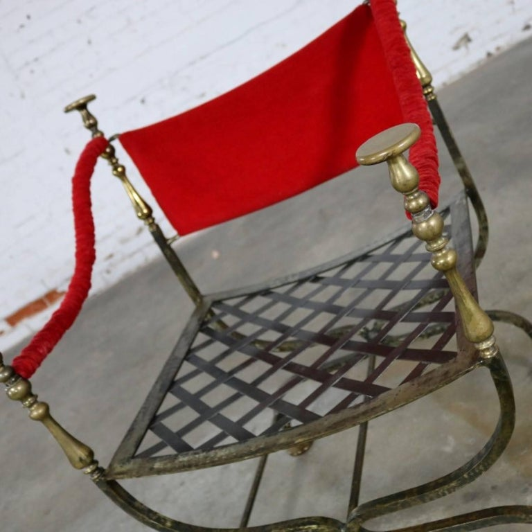 Wrought Iron and Brass Curule Savonarola Chair, Mid-20th Century For Sale 3