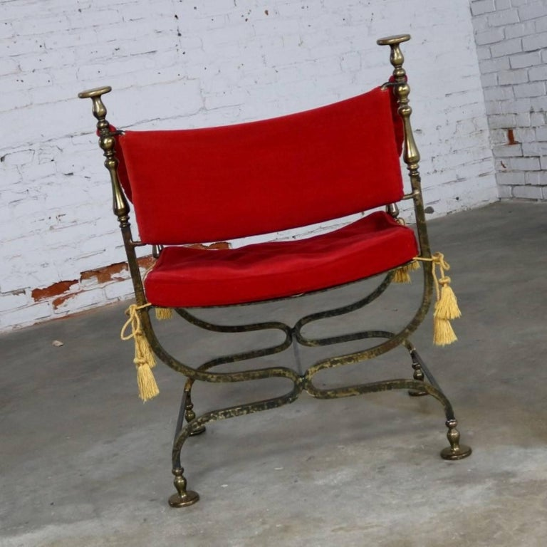 Wrought Iron and Brass Curule Savonarola Chair, Mid-20th Century In Good Condition For Sale In Topeka, KS