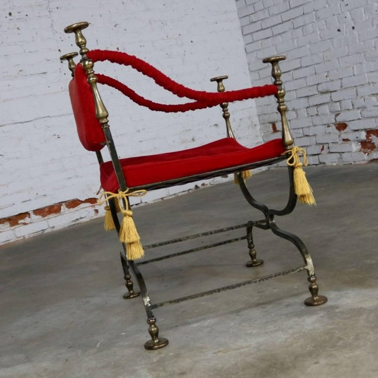 Hollywood Regency Wrought Iron and Brass Curule Savonarola Chair, Mid-20th Century For Sale